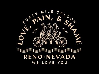 Love Pain Shame Dribbble identity branding bar branding shame pain love cycling bike bar saloon new york city laxalt linework illustration brooklyn nevada reno