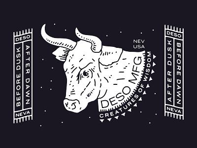 Creatures of Wisdom moo cow bull tahoe great basin desolation road trips desert dawn dusk dust wisdom branding new york city laxalt linework illustration brooklyn nevada reno