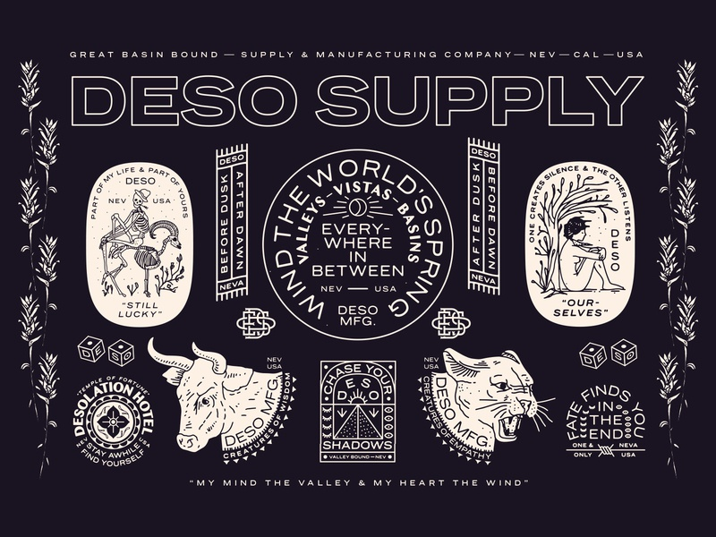 Deso Supply - Full Sheet mountain wilderness skeleton bull mountain lion fortune luck spring world great basin desolation nyc new york city identity branding linework illustration brooklyn nevada reno