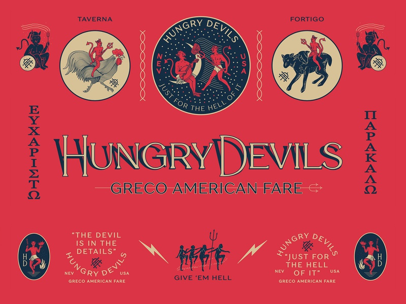Hungry Devils Greco American Fare cock rooster details devils hell greek fortune luck hungry devil food truck identity branding new york city laxalt linework illustration brooklyn nevada reno