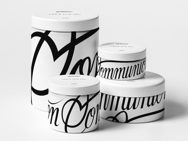 Communion Specialty Foods typography koji container jars script lettering script organic foods healthy food healthy health branding identity packaging new york city linework illustration brooklyn nevada reno