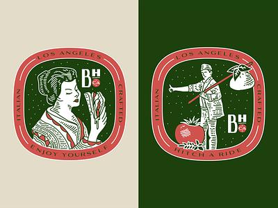 Burrata House Badges burrata cheese italy la los angeles tomato illustration design badge badge design hitchhiker italian