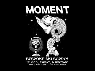 Blood, Sweat, & Nectar atlas bandito luck eyes tattoos drink chalice skiing ram tahoe lettering typography branding new york city laxalt linework illustration brooklyn nevada reno
