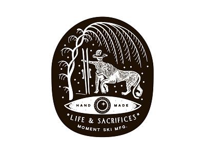 Life & Sacrifices lettering typography branding new york city laxalt linework illustration brooklyn nevada reno sacrifices life palm lion adventure mountains ski skiing skis moment