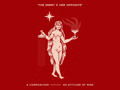 The Enemy & Her Opposite nyc branding new york city laxalt linework illustration brooklyn typography nevada reno mind attitude warmth fire flames chalice woman her opposite enemy