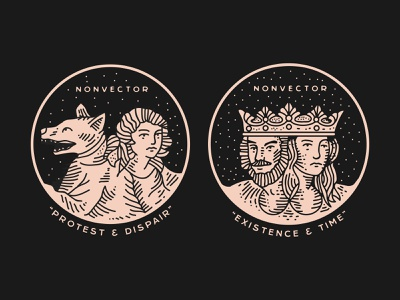 Protest & Despair // Existence & Time identity nyc branding new york city laxalt linework illustration record music brooklyn nevada reno woman creature crown home time existence despair protest