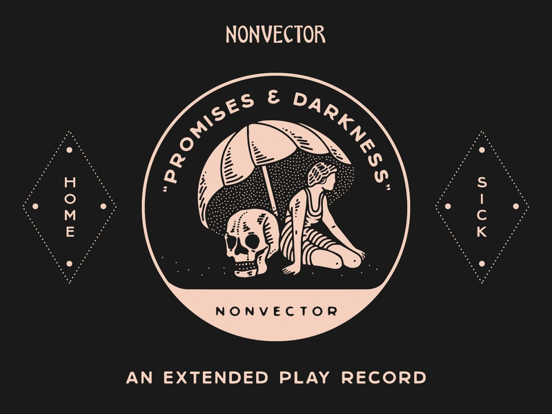 Promises & Darkness nyc branding new york city laxalt linework illustration brooklyn nevada reno music record sick home swimming woman skull umbrella darkness promises promise