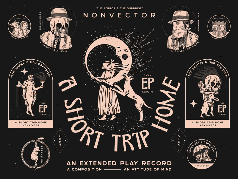 A Short Trip Home: An Extended Play Record nyc typography branding new york city laxalt linework illustration brooklyn nevada reno king snake bear umbrella skull woman home bandit cowboy moon