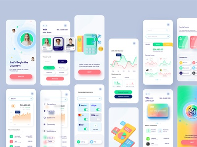 Unifin Full Mobile UI interfaces mobile ui unified financial finance fintech mobile design uidesign uiux mobile app design app design app mobile app mobile