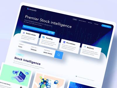 Investo stock trading web design website concept 2d blue brand identity web design agency figma ui  ux ui design web design website webdesign web modern branding