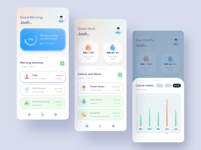 Health tracker app UI ui abstract design design agency mobile app design agency mobile app design health and fitness modern user interface uiux ui design soft ui health app food fitness app fitness health tracker