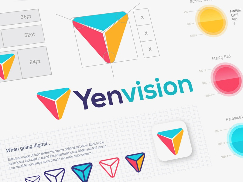 Yenvision online icon colorful typography sketch illustration brand color gradient logomark adobe graphic illustrator modern minimal abstract branding design 2d logo