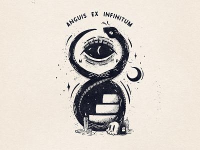 Infinity Snek halftone texture space moon gritty eye snake tshirt tshirtdesign tattoo black and white vintage cartoon design illustration