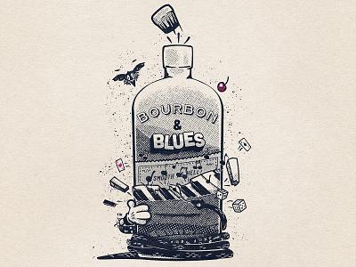 Bourbon & Blues speakeasy music whiskey blues old fashioned bourbon halftone t-shirt black and white retro vintage cartoon design illustration