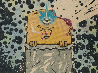 All-Seeing Burrito cosmic space kirby anthropomorphic character design comic art retro vintage design cartoon illustration burrito