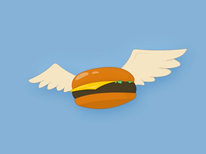 Bob's Flying Burger food illustration wip wings cartoon bobs burgers flying burger