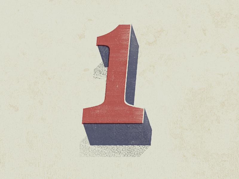 ONE retro vintage illustration design numbers typeface typography type