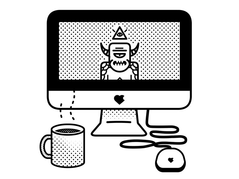 Working Away black and white life of a freelancer line art halftones design demon illustration vector