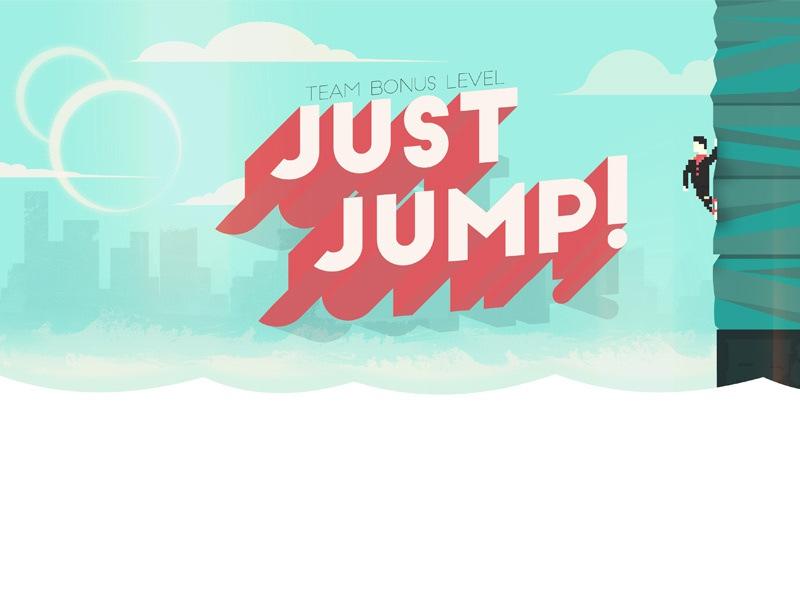 Just Jump! pixel art game design jump design type illustration waves 8-bit videogame