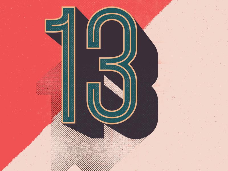 Thirteen halftones design illustration 3d vintage retro type numbers 13