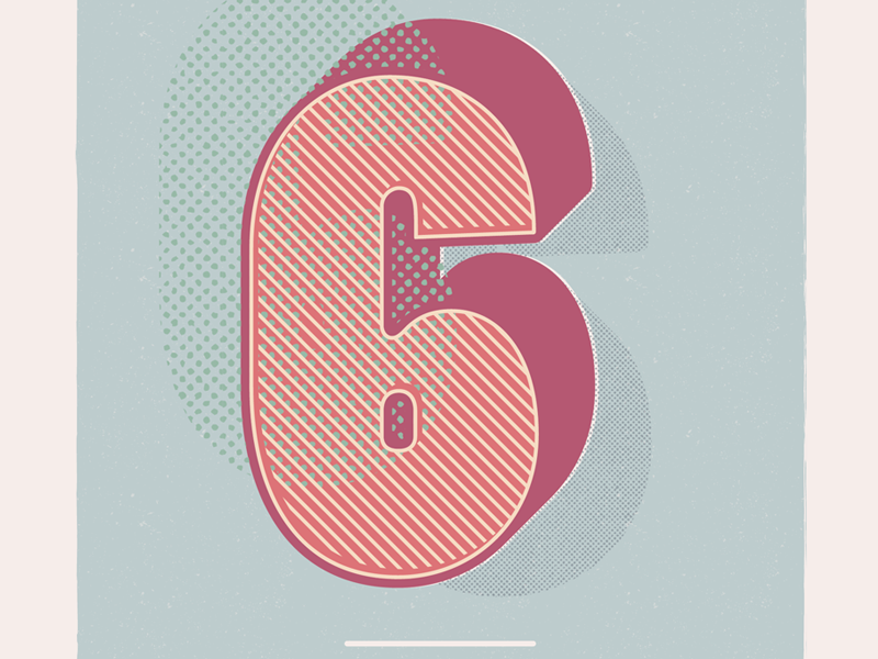 Numero Sei 3d type design vintage halftones type retro illustration numbers