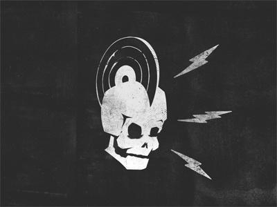 Vinyl-hawk  black and white gritty design rock punk record vinyl skull illustration