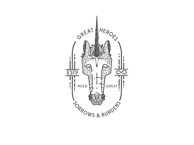 Last Unicorn the last unicorn line art vintage design illustration badge unicorn