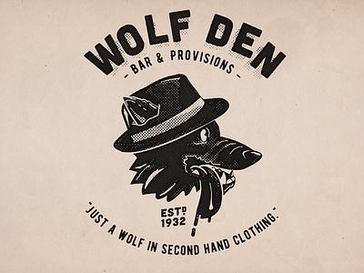 Wolf Den wolf creep wolf cartoon tshirt design vintage black and white retro design illustration