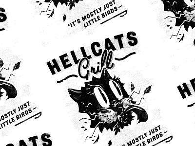 Hellcats Grill cat vintage retro cartoon halftone illustration black and white grill hellcat
