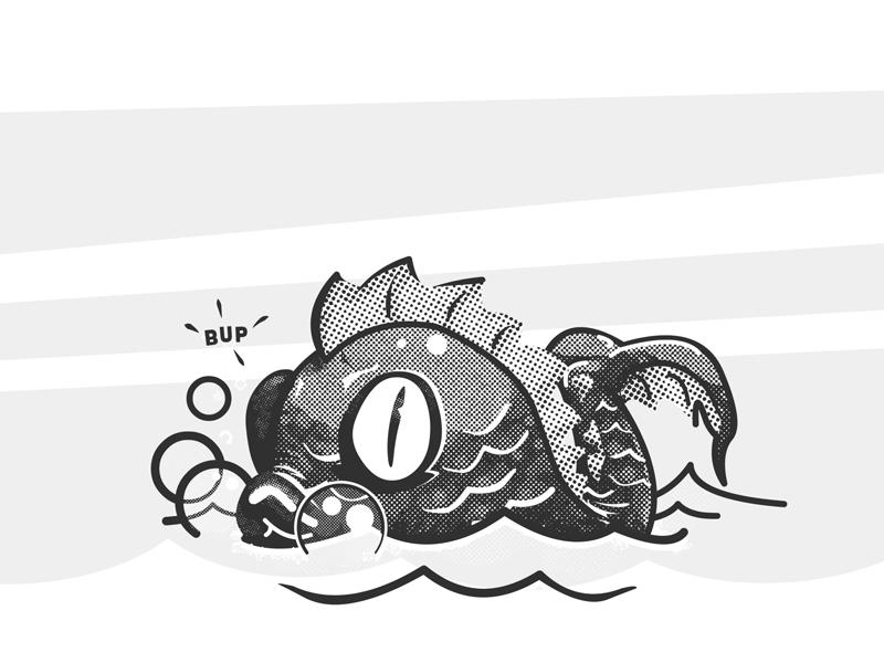 Lil' Leviathan halftone t-shirt retro black and white vintage cartoon design illustration fish