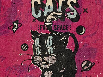 Space Cats alien halftone space cat comic retro vintage cartoon design illustration