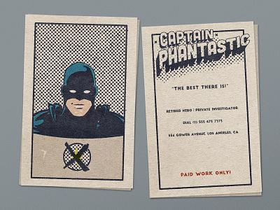 Captain Phantastic - Retired Hero retro vintage illustration design business card dribbbleweeklywarmup comics hero superhero