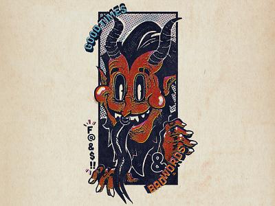 Good Times Demon bad words demon print design t-shirt retro vintage cartoon design illustration