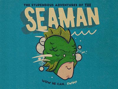 The Seaman retro comic art comics hero superhero cartoon illustration vintage