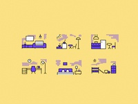Linear home Icon drawing