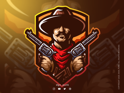 Wild west cowboy esports logo vector icon sport logo character ui illustration branding design brand