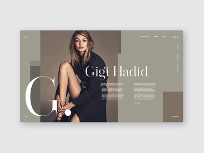 Vogue - Gigi Hadid grid layout grid type ui designer fashion website magazine vogue fashion golden ratio grid grid design uidesign ui ux typography web  design design