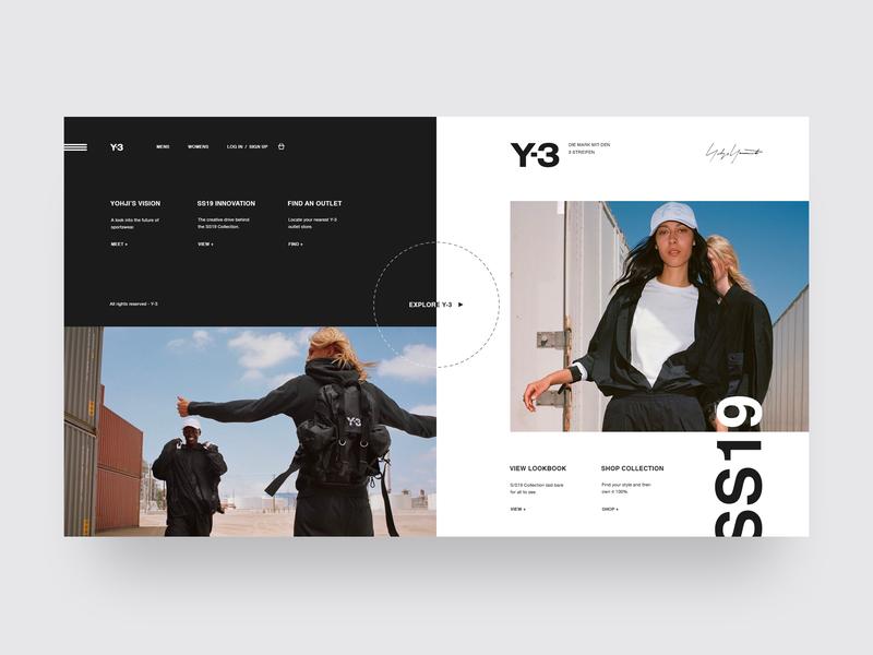 Y-3 | Yohji Yamamoto | S/S 19 y-3 adidas minimal website minimal ui design landing page shop fashion website store design store e-commerce fashion ux ui grid design web  design typography