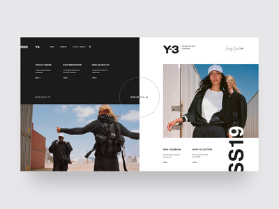 Y-3 | Yohji Yamamoto | S/S 19 y-3 adidas minimal website minimal ui design landing page shop fashion website store design store e-commerce fashion ux ui grid design web  design typography
