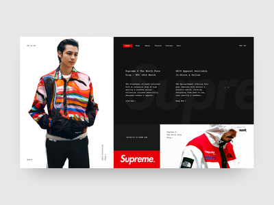 Supreme NYC minimal ui streetwear supreme grid layout minimal web design minimal website minimal ui design landing page shop fashion website store design store e-commerce fashion ux ui grid design web  design typography
