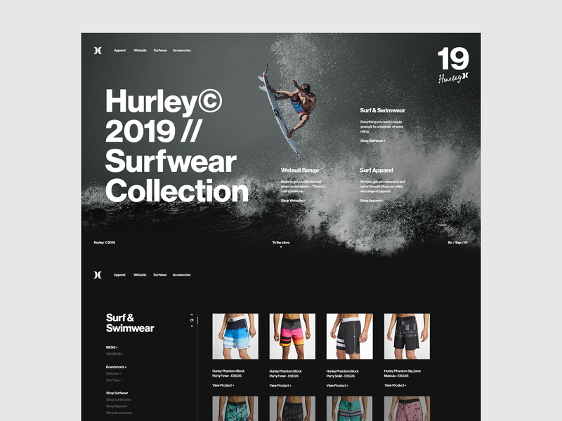 Hurley Surf Co. minimal web design store design store ui design shop landing page minimal website minimal surfing website hurley surfing surf fashion e-commerce ux ui grid design web  design typography