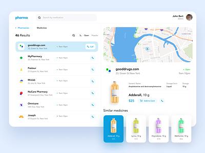 Pharmacy Dashboard navigation design medicine app ux bottle ui blue dashboard web medical pharmacy medicine