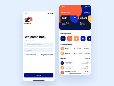 Wallet App blue logo ios navigation payments ui ux mobile list circle bright design wallet app