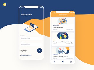 Online training platform design android app ios app design white orange quick dark blue interface user interface mobile application user friendly simple clean ui mobile app uxui design ui ux