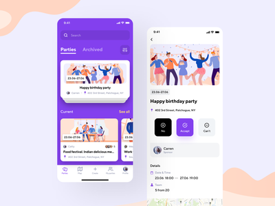 Party & Meetings App Design invite festival calendar share surf ux mobile meeting ios icons graphics event concept violet illustraion ui app holidays party