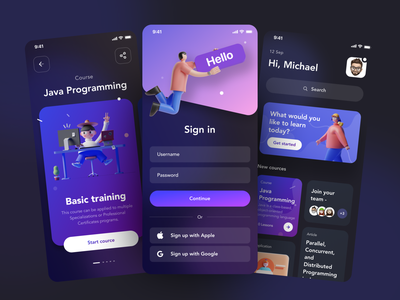 Learning platform App design 3d violet user interface blue illustraion ios mobile app design ux ui