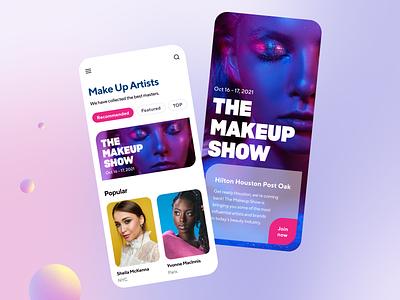 Beauty marketplace App concept contrast models violet gradient neon design ui show beauty makeup mobile app