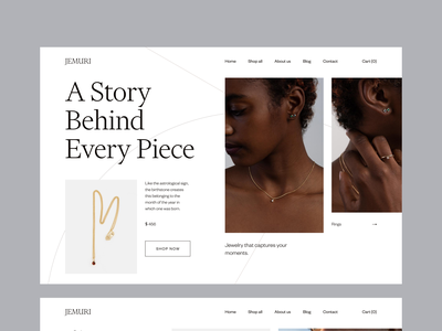 Jewelry Store Concept photography home page shop market minimal luxury elegant typography design jewelry ui