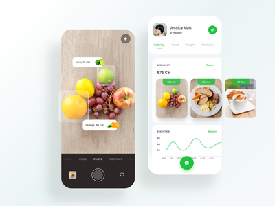 Calorie Counter camera counter green calories sport fitness food ar mobile ios design app animation ux ui adobe xd