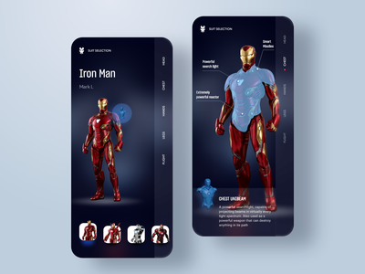Iron Man. Mark L marvelapp dark marvel comics game ironman iron marvel avengersendgame avengers navigation mobile ios design app ux ui adobe xd